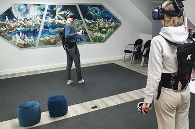 Tennis match with VR glasses at EnterVR in Lillehammer