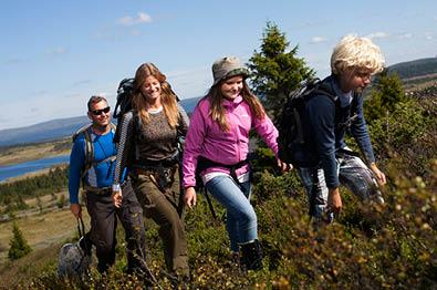 Family hiking in summer at Sjusjøen