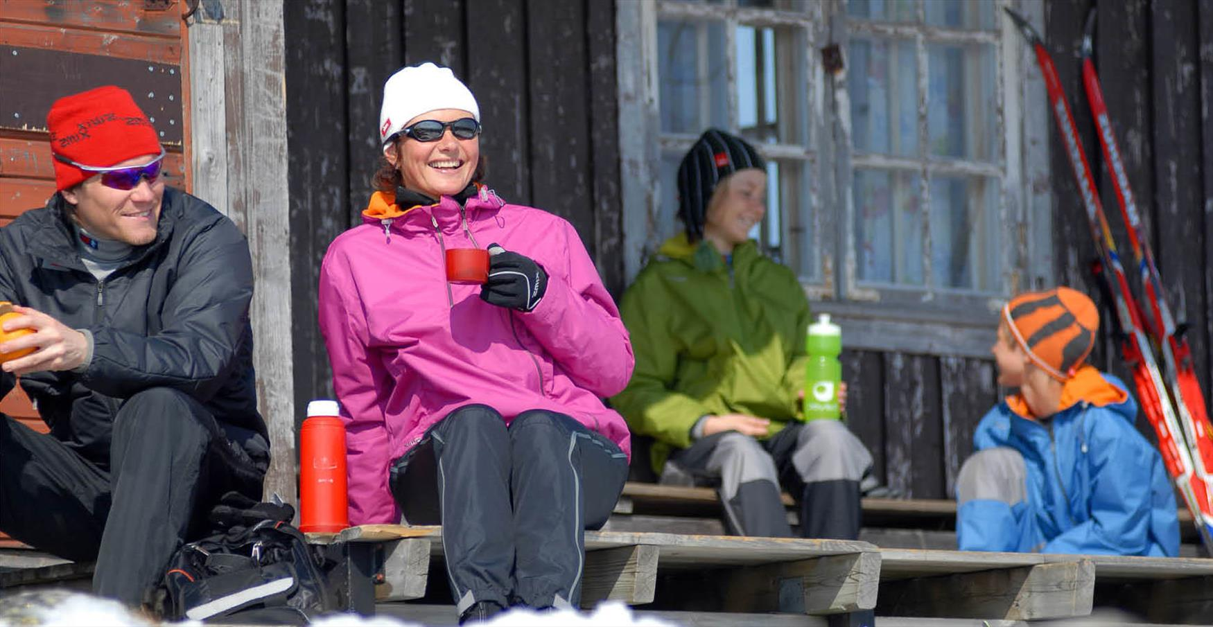 Taking a break on the cross-country skiing trip