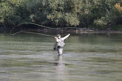 Fishing for brown trout in Langsua national park