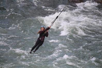 Jumping in a harness over the river