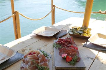 Cured meats served at the floating raft down the calm parts of Lågen river