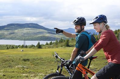 Two mountainbikers enjoying the view over a mountain lake.